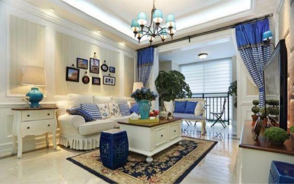 地中海风格110平米两室两厅新房装修效果图