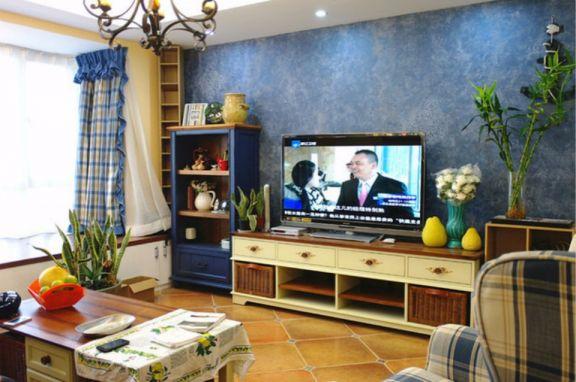 客厅电视柜地中海风格装饰图片