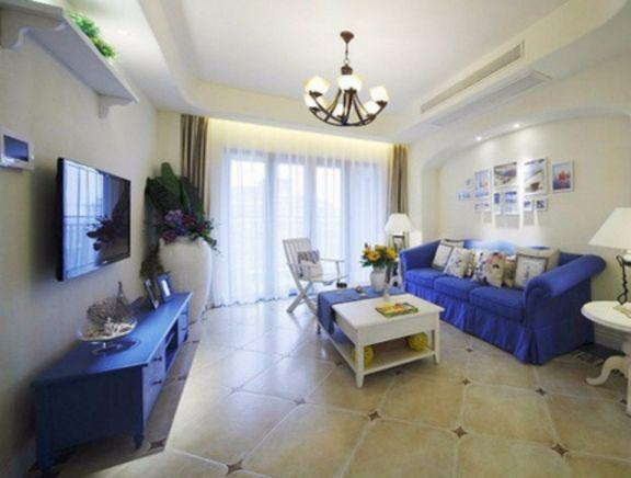地中海风格75平米两室两厅新房装修效果图