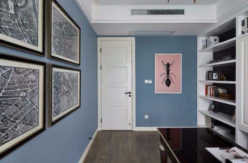 书房照片墙美式风格装潢图片