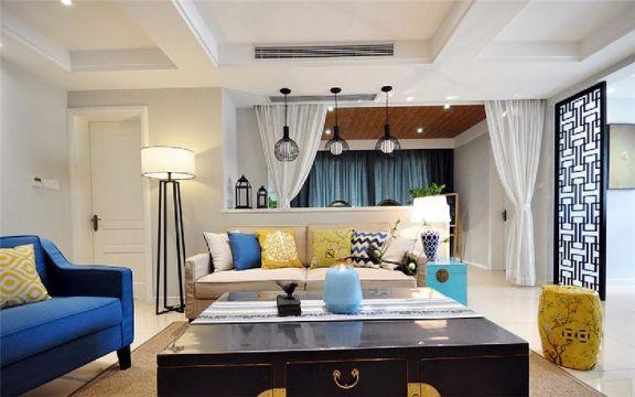 金色年华97平新中式三居室装修效果图