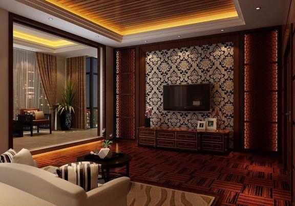 卧室背景墙中式风格装潢图片