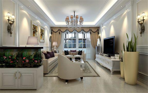 加侨悦山国际106平欧式三居室装修效果图