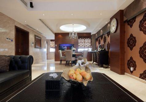 客厅黑色沙发简欧风格装修效果图