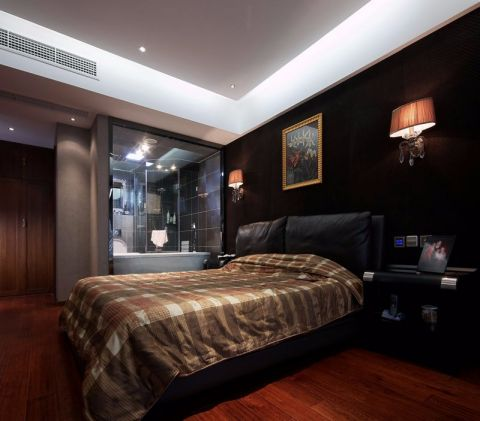 卧室黑色床简欧风格装潢图片