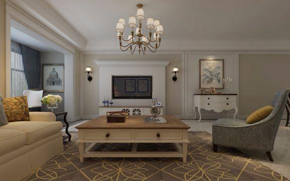 卢浮宫120平米美式三居室装修效果图