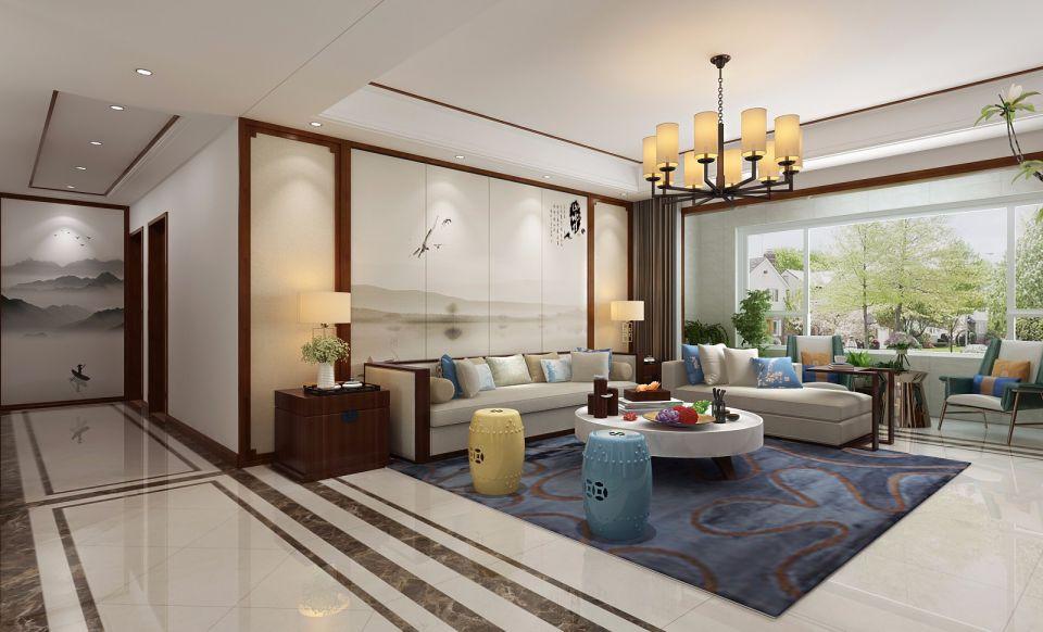 中式风格120平米三居室装修效果图
