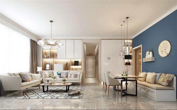 恒泰悦城67平米两居室北欧风格装修效果图