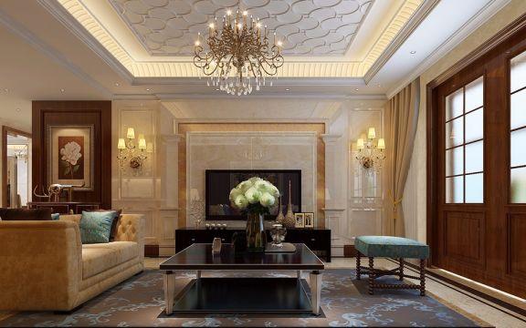 客厅白色欧式风格装饰图片