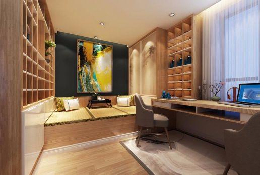 书房咖啡色榻榻米中式风格装饰设计图片