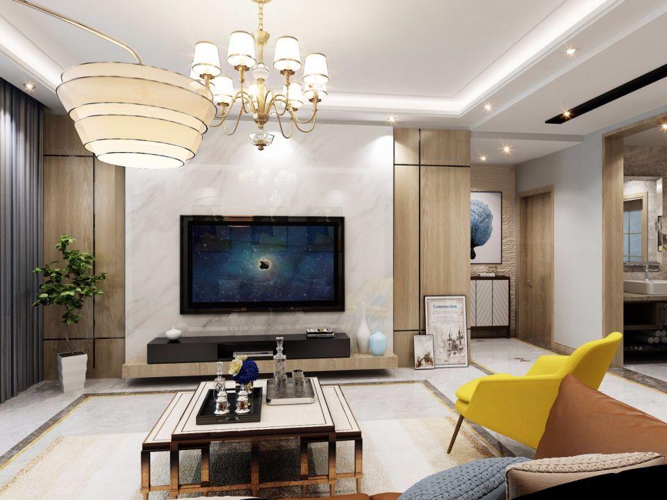 现代风格140平三居室装修效果图