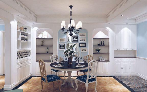 餐厅白色吊顶地中海风格装修设计图片