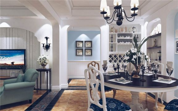 餐厅白色餐桌地中海风格装饰设计图片