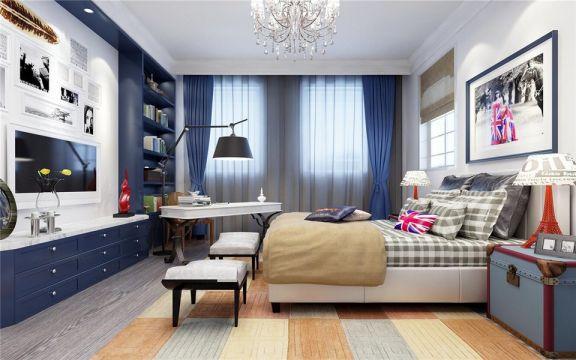 儿童房蓝色床头柜地中海风格效果图