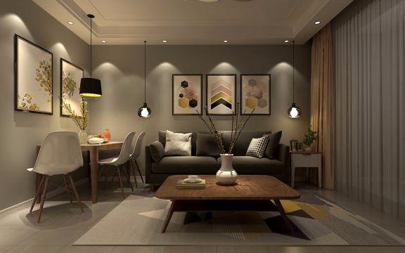 客厅咖啡色茶几北欧风格装潢设计图片