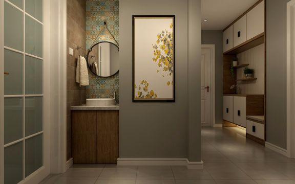 卫生间咖啡色洗漱台北欧风格效果图