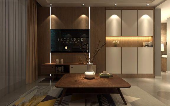 客厅咖啡色茶几北欧风格装饰效果图