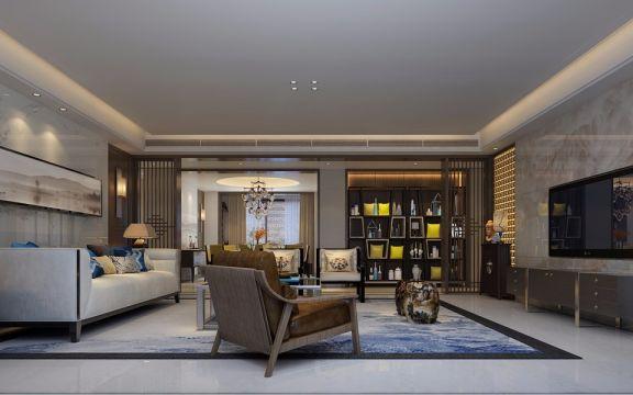 客厅白色中式风格装饰设计图片