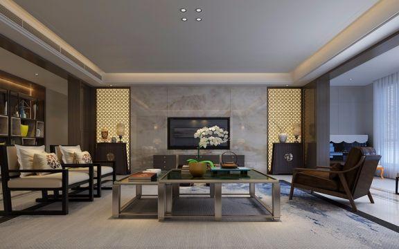 客厅咖啡色中式风格装潢设计图片