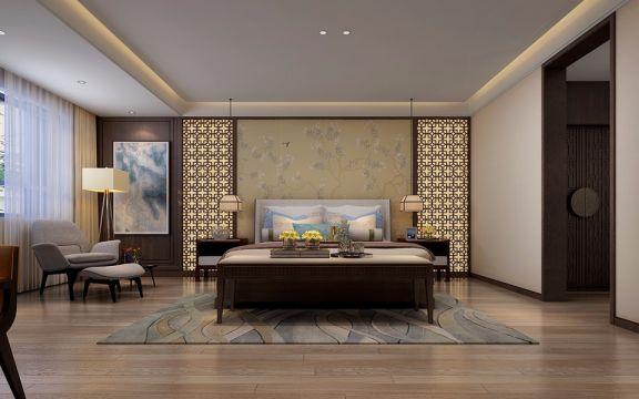 卧室米色中式风格装修效果图
