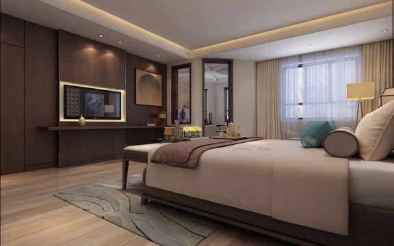 卧室咖啡色地板砖中式风格装饰效果图