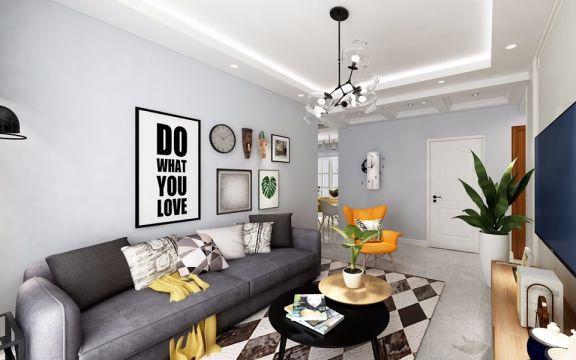 客厅照片墙北欧风格装潢效果图