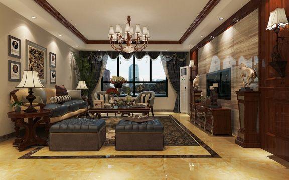 嵩阳苑180平米美式风格四居室装修效果图