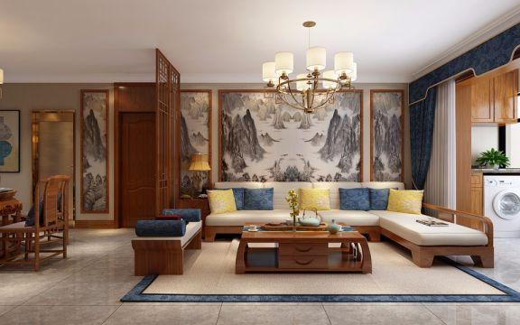 理想世界139平米新中式三居室装修效果图