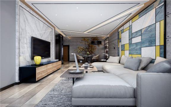 万达亲湖苑97平米三居室现代风格装修效果图