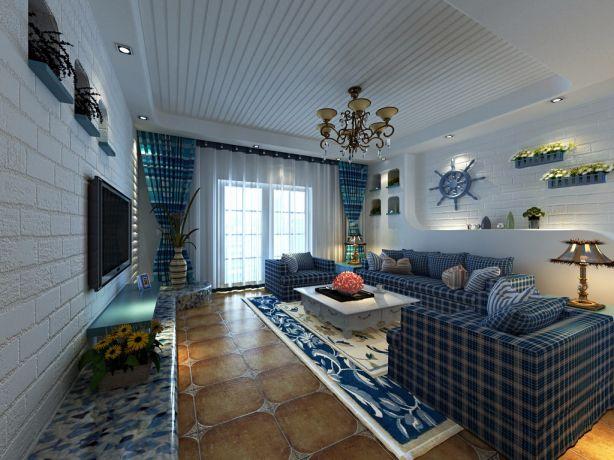 客厅沙发地中海风格装潢效果图