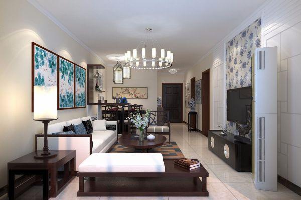 客厅细节中式风格装饰效果图