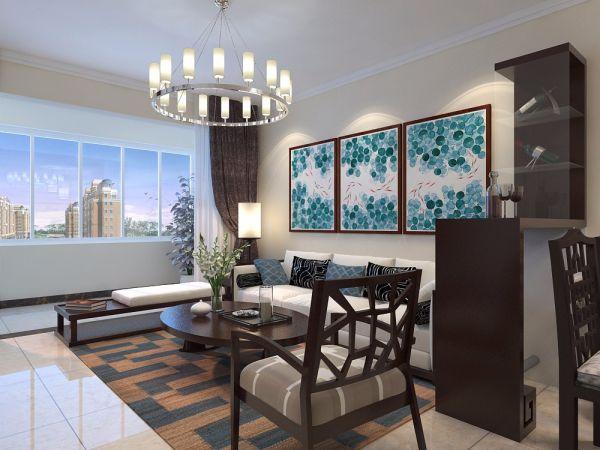 鲁商常春藤89平二居室中式风格装修效果图