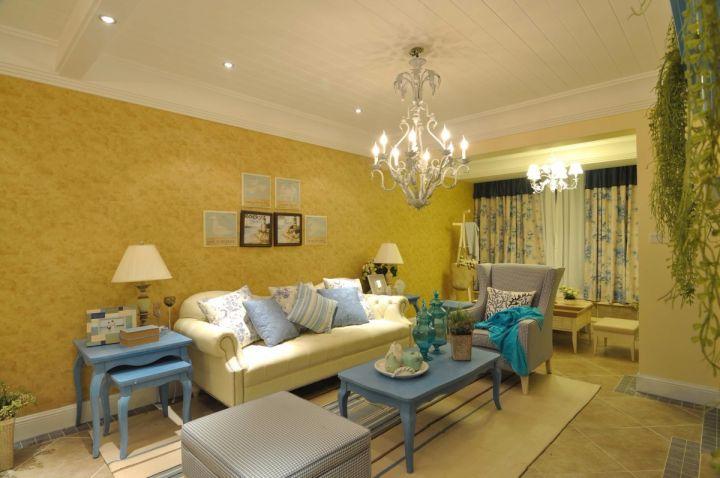 客厅窗帘地中海风格装修设计图片