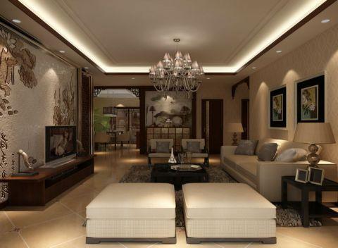 美城云庭150平米现代中式风格二居室装修效果图