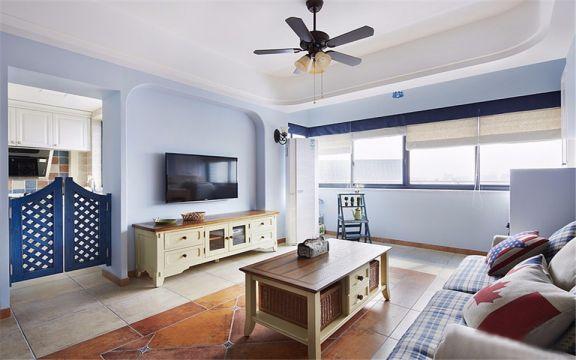 禹州中央广场88平地中海风格三居室装修效果图