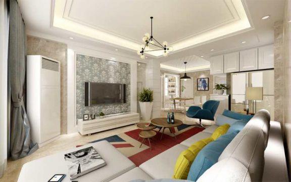 90平米现代简约风格3室2厅1卫装修效果图