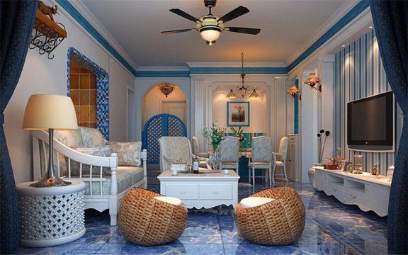 地中海风格116平米三室两厅新房装修效果图