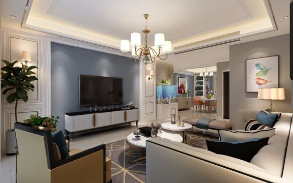 混搭风格135平米三室两厅新房装修效果图