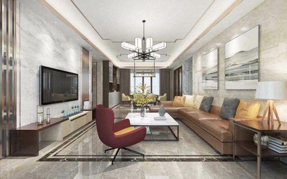 现代风格125平米三室两厅新房装修效果图
