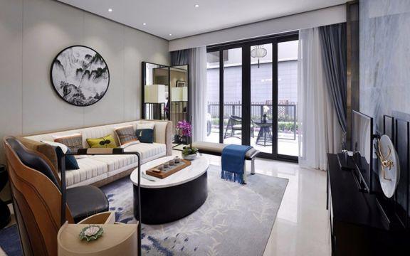 新中式风格127平米三室两厅新房装修效果图