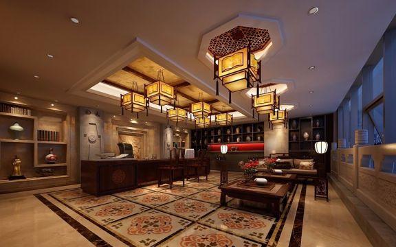 书房书桌新中式风格装饰图片