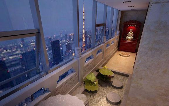 阳台吊顶新中式风格装潢设计图片