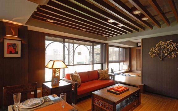 新百花园 89平中式三室一厅一卫装修效果图