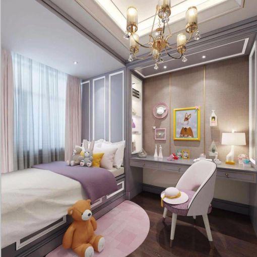儿童房白色吊顶简欧风格装潢设计图片