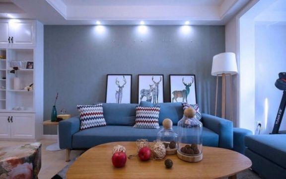 康桥新苑两室两厅96平北欧装修效果图