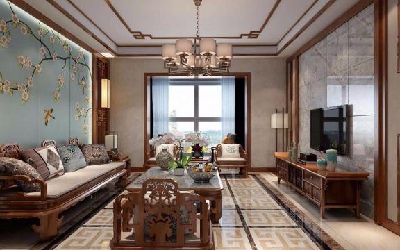 新中式120平米三居室装修效果图
