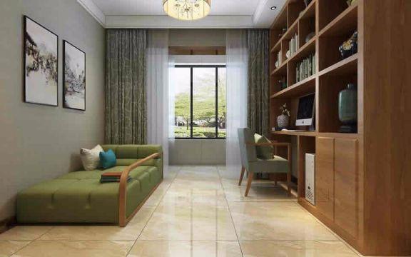 书房窗帘新中式风格装潢效果图