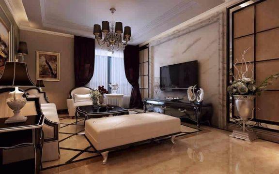 客厅吊顶简欧风格装饰设计图片