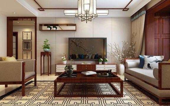 富力华庭130平米三居室新中式风格装修效果图
