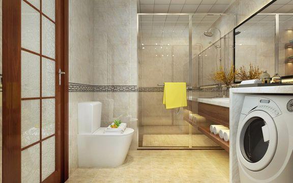 卫生间地板砖新中式风格装饰图片